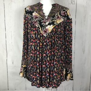 Free People Long Sleeve Tunic Black Floral
